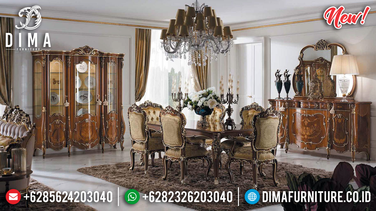 Kursi Set Meja Makan Mewah 6 Kursi Luxury Great Solid Wood Jepara BT-0817