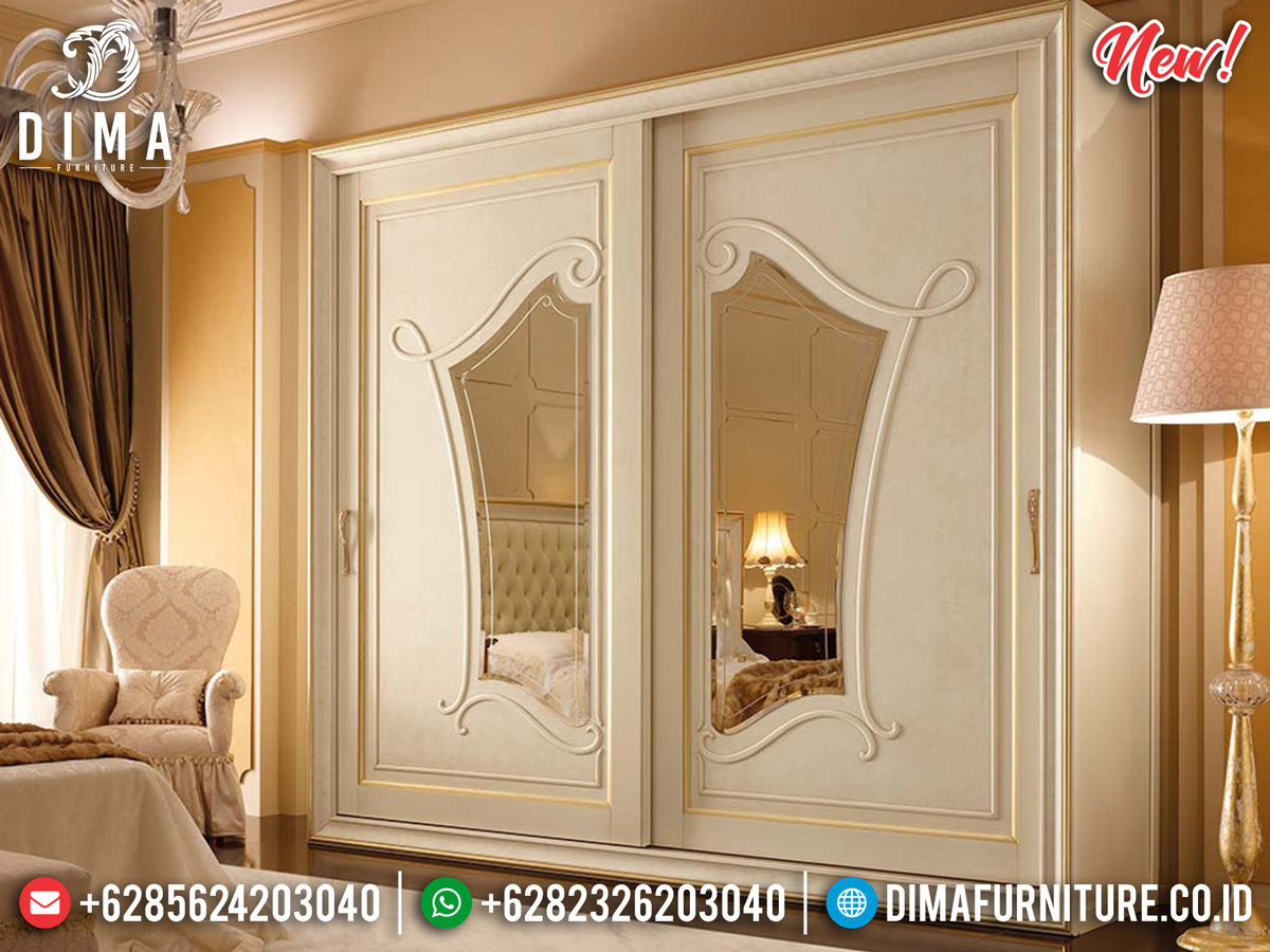 Lemari Pakaian Mewah Putih Duco Ivory Luxury Carving New Furniture Jepara BT-0771