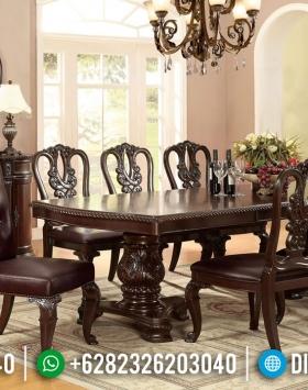 Meja Makan Jati Klasik Natural Classy Versace Luxury Carving Jepara BT-0799