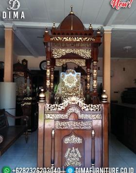 Mimbar Jati Murah Natural Kombinasi Emas Produk Best Seller BT-0740