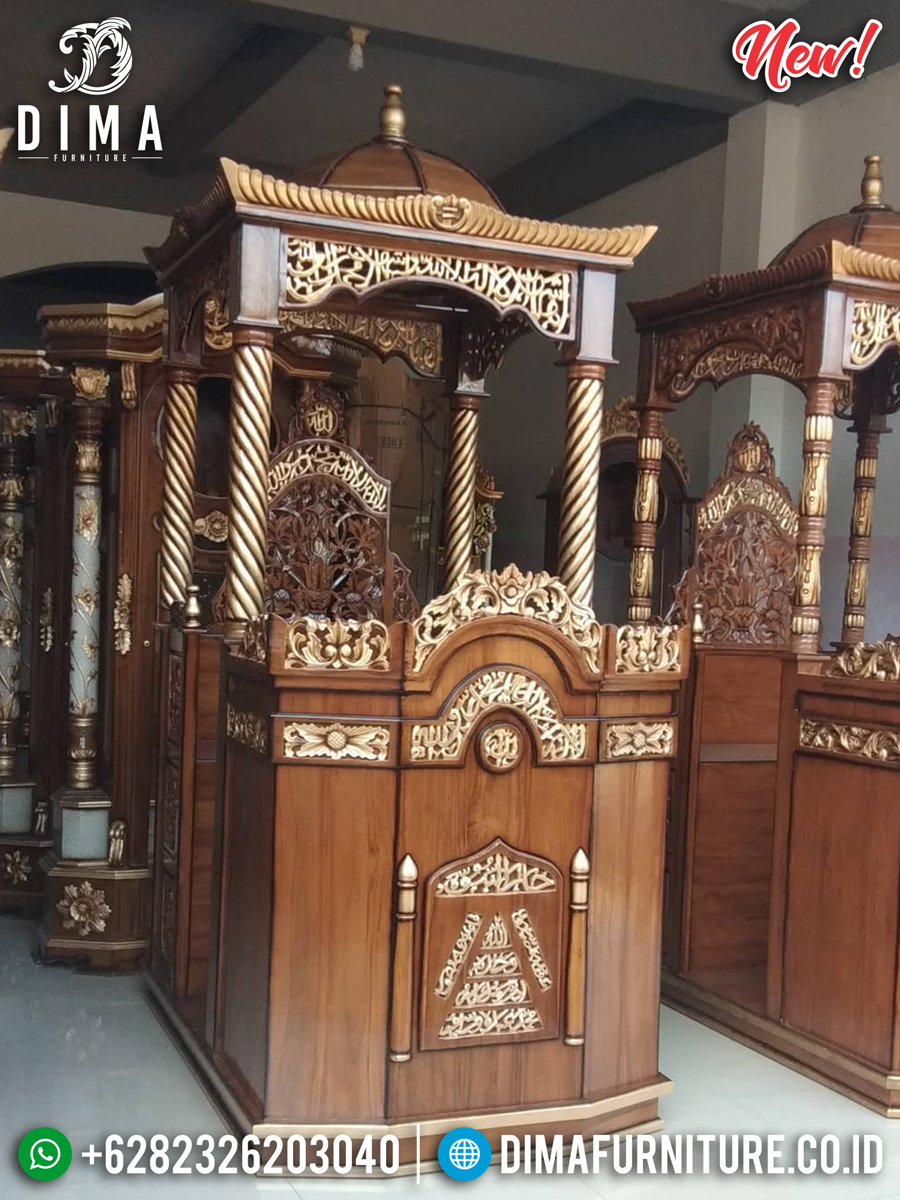 Mimbar Masjid Jepara Kayu Jati Natural Kombinasi Emas Luxury Desain BT-0752