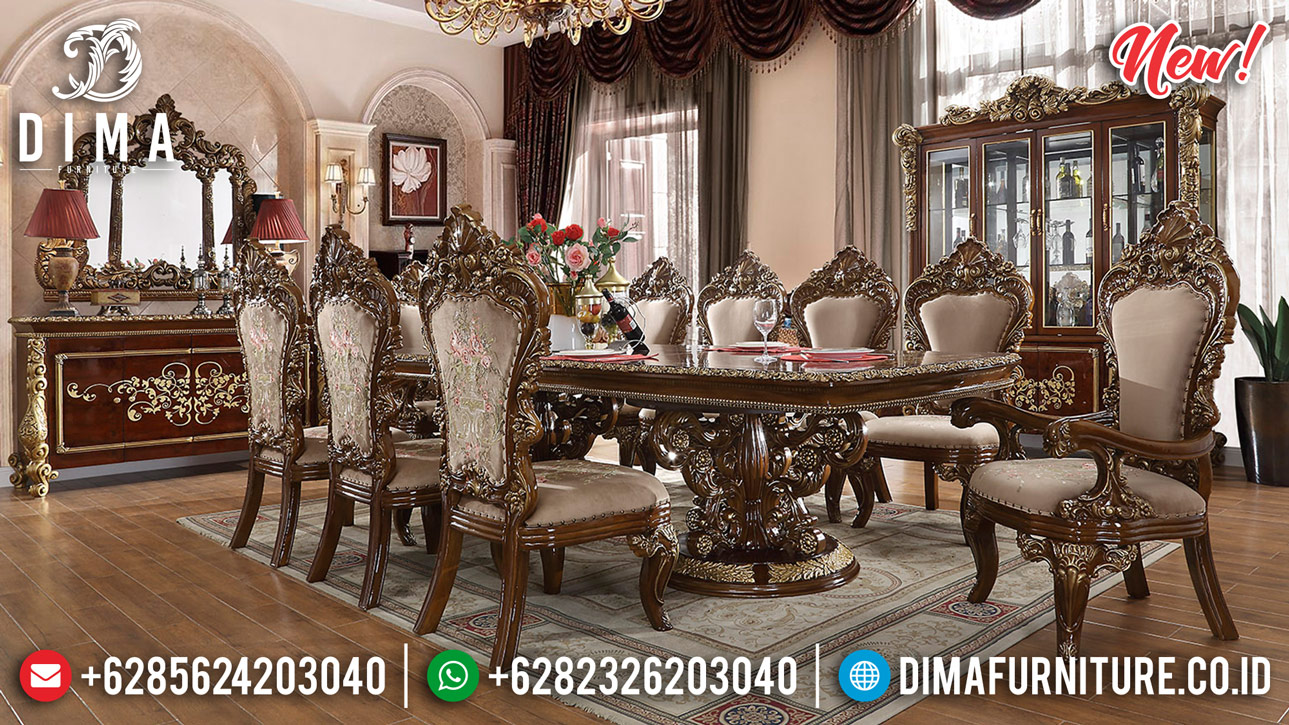 New Desain Meja Makan Klasik Jati Perhutani Luxury Carving Combination BT-0801