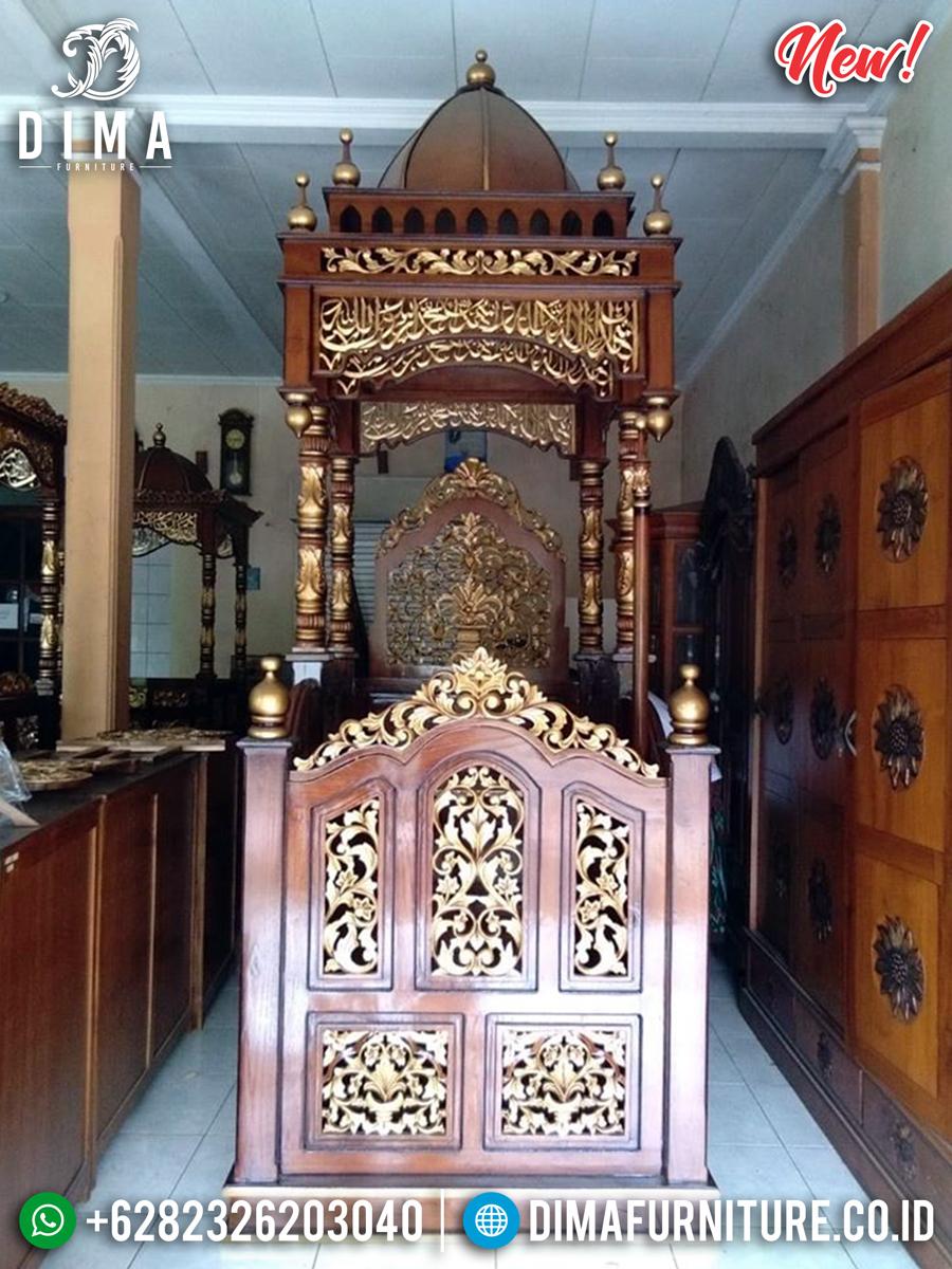 New Model Mimbar Masjid Jati Kubah Ukiran Great Carving Furniture Jepara BT-0742