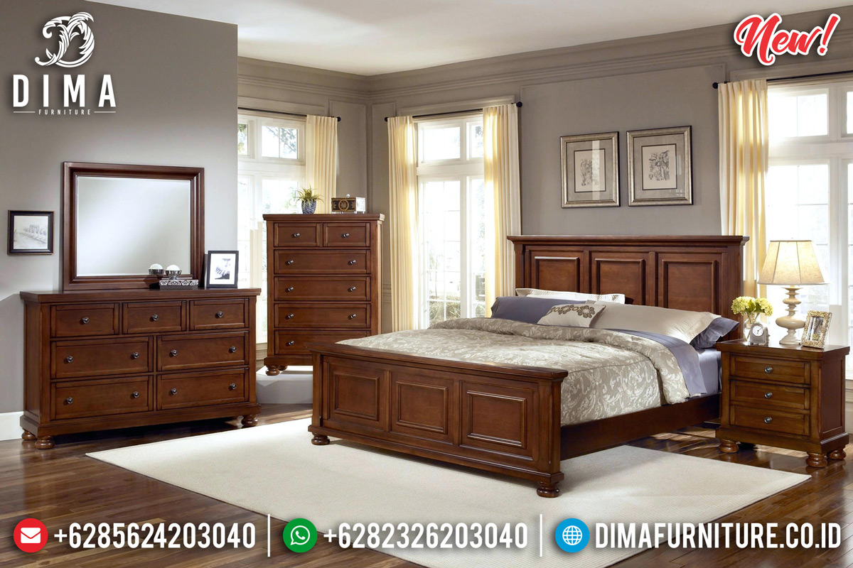 New Model Tempat Tidur Jati Minimalis Natural Salak Walnut Furniture Jepara Luxury BT-0798