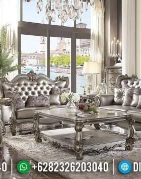 Sofa Tamu Mewah Silver Champagne Luxury Carving New Design Royals Classic BT-0764