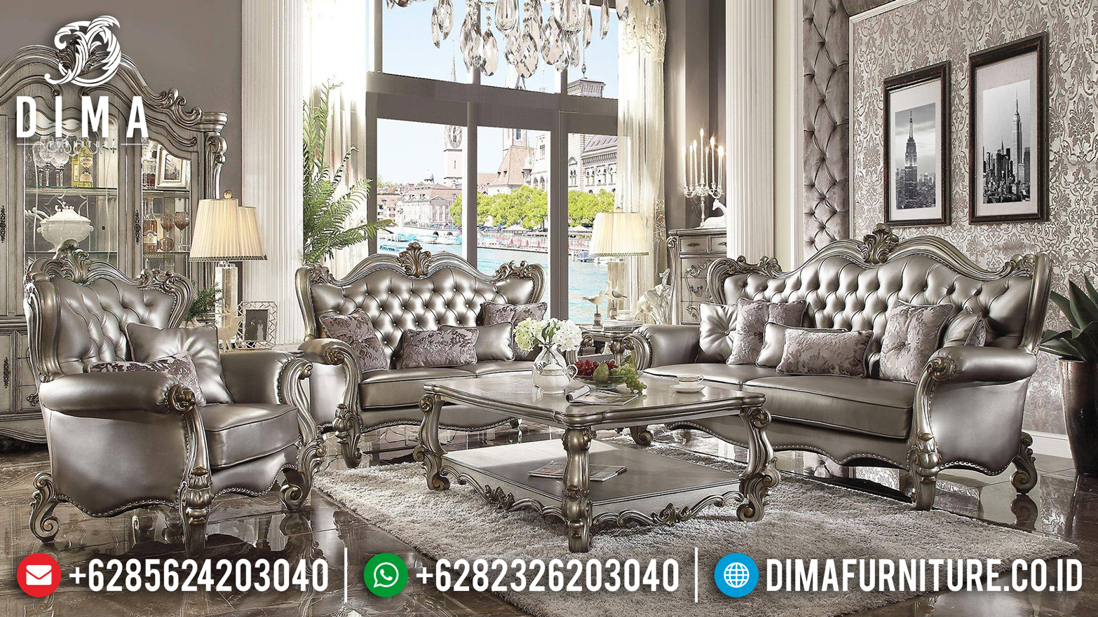 Sofa Tamu Mewah Silver Champagne Luxury Carving New Design Royals Classic BT-0764