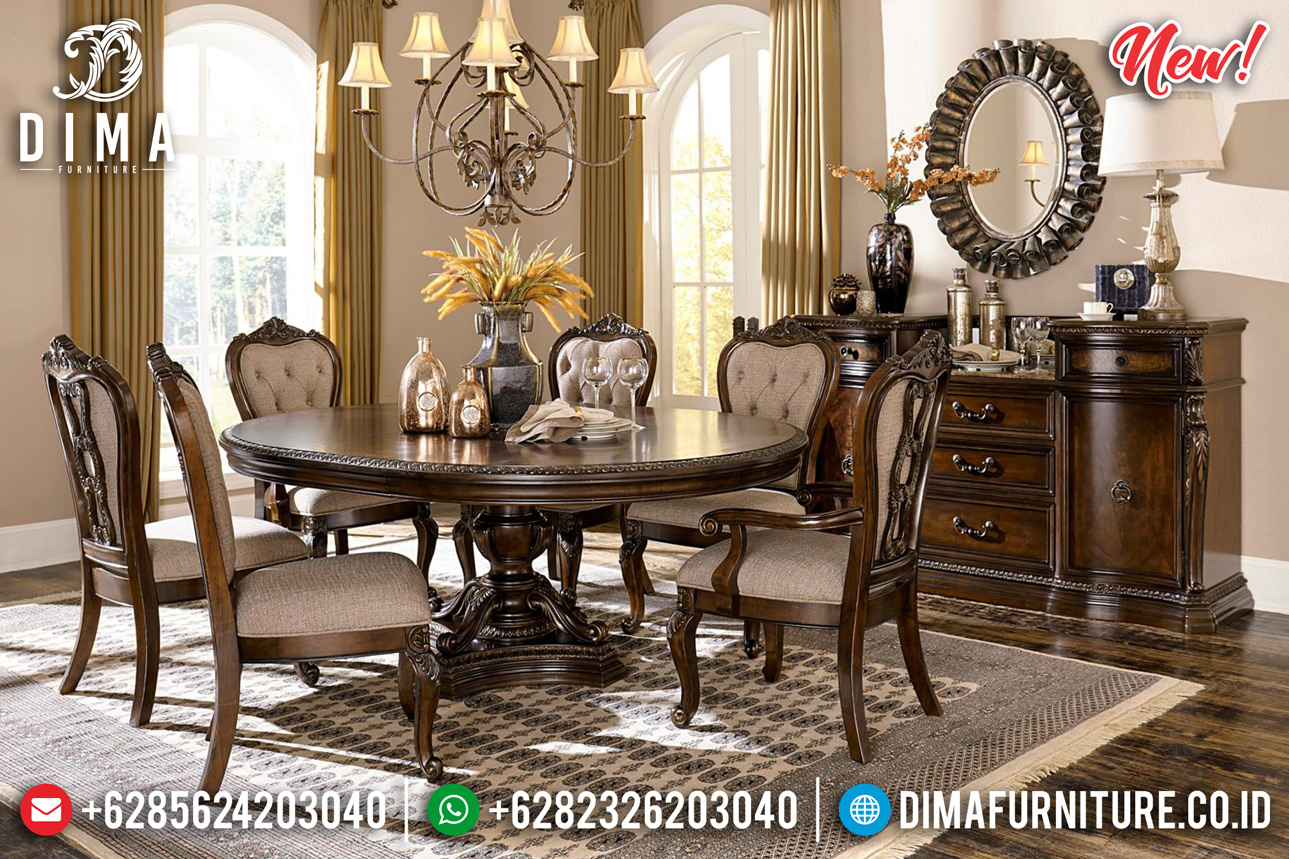 Vanessa Set Meja Makan Minimalis Klasik Jati Perhutani New Great Solid Wood BT-0835