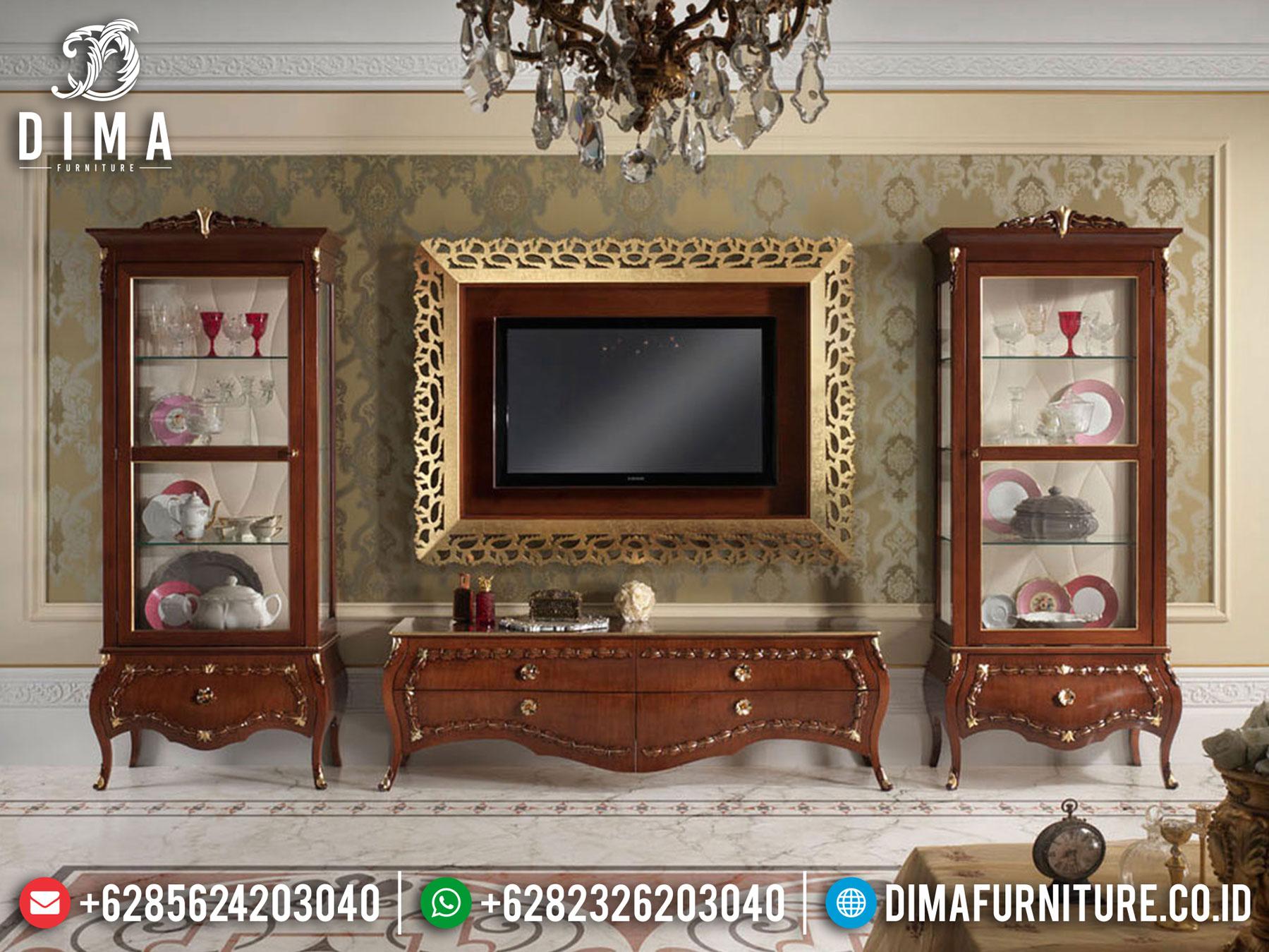 Best Sale Lemari Hias Mewah Set Meja TV Jati Natural Kombinasi BT-0873