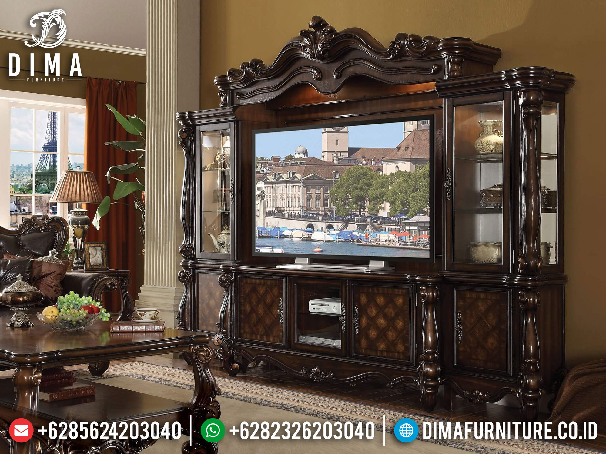 Classic Furniture Bufet TV Mewah Luxury Carving Solid Wood Greatest BT-0874