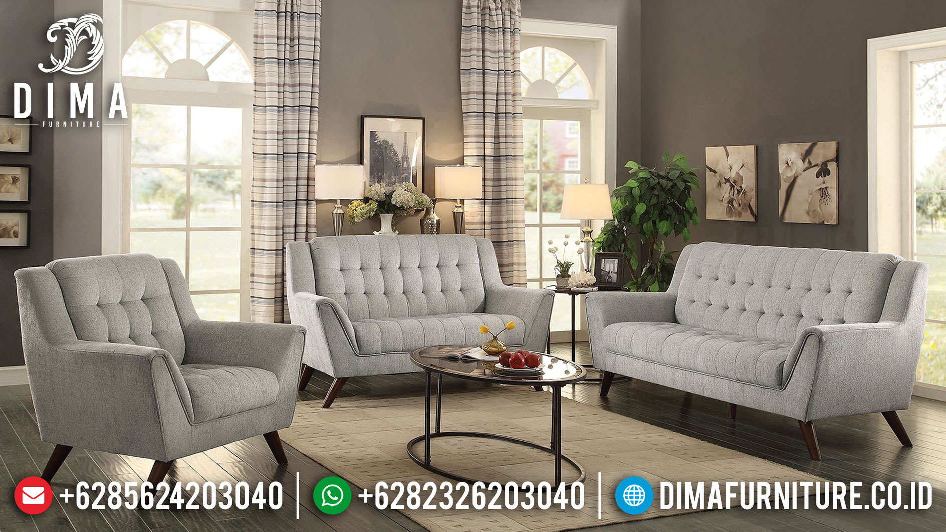 Desert Sand Color Set Sofa Tamu Minimalis Retro Grade A Quality BT-0863
