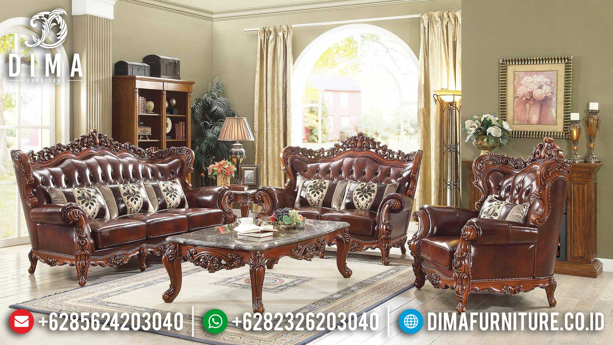 Elegant Classic Style Sofa Tamu Jati Mewah Natural Brown Salak Glossy BT-0851