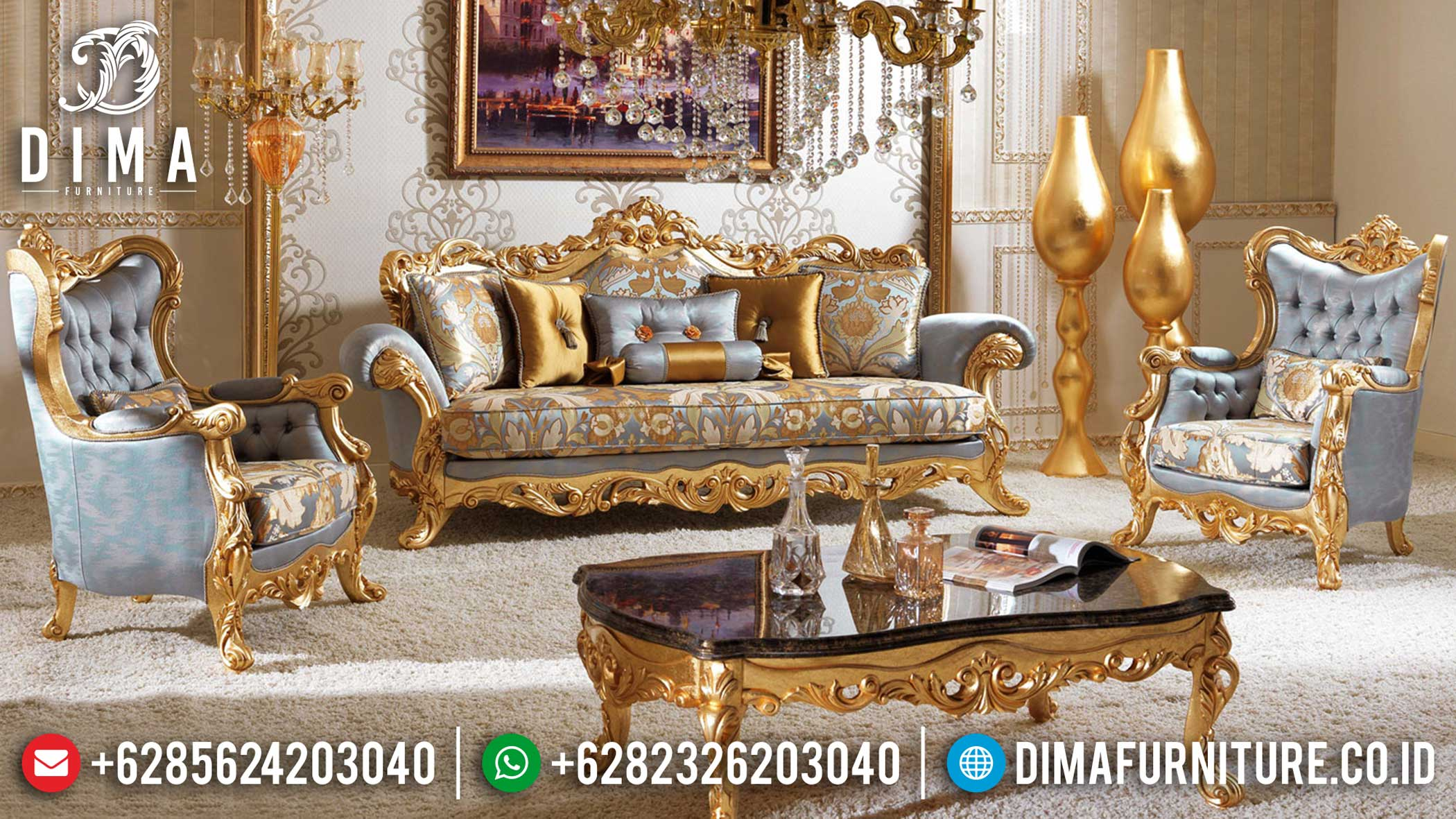 For Sale Sofa Tamu Ukiran Mewah Golden Leaf Luxury Italian Style BT-0852