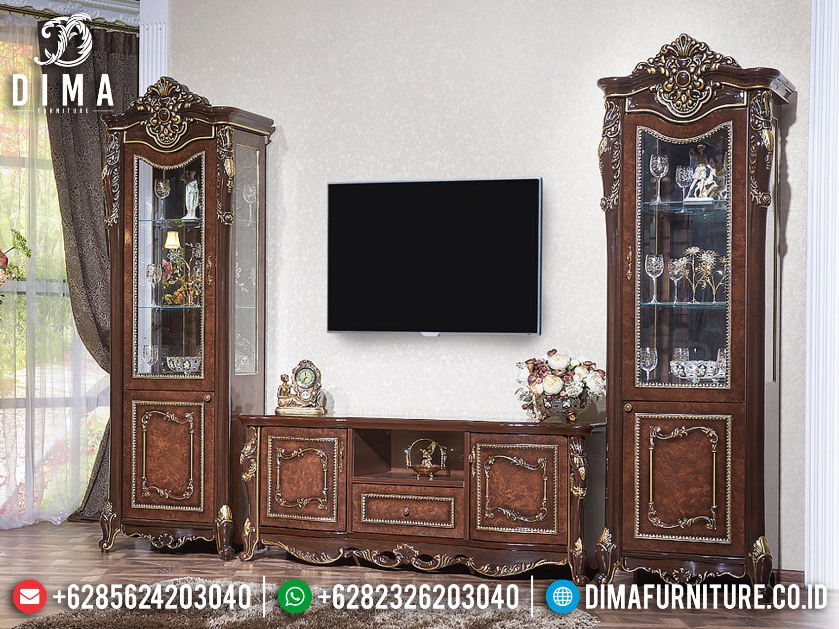 Imperial Style Bufet TV Mewah, Lemari Hias Kaca Terbaru Luxury Carving Marquetry BT-0871