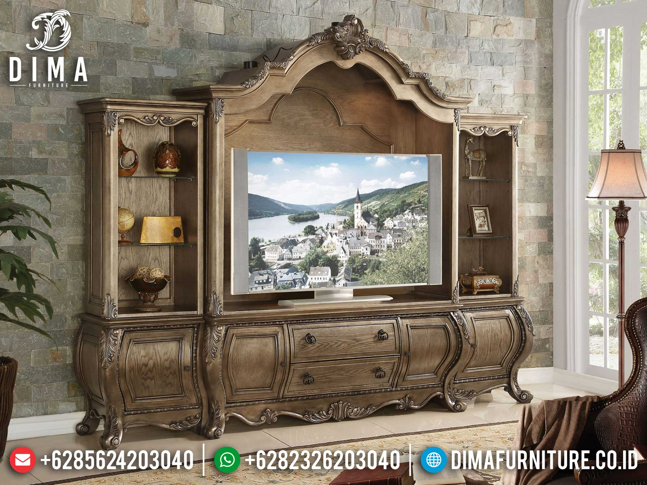 New Bufet TV Ukiran Luxury Design Living Room Classic Elegant Furniture Jepara BT-0879