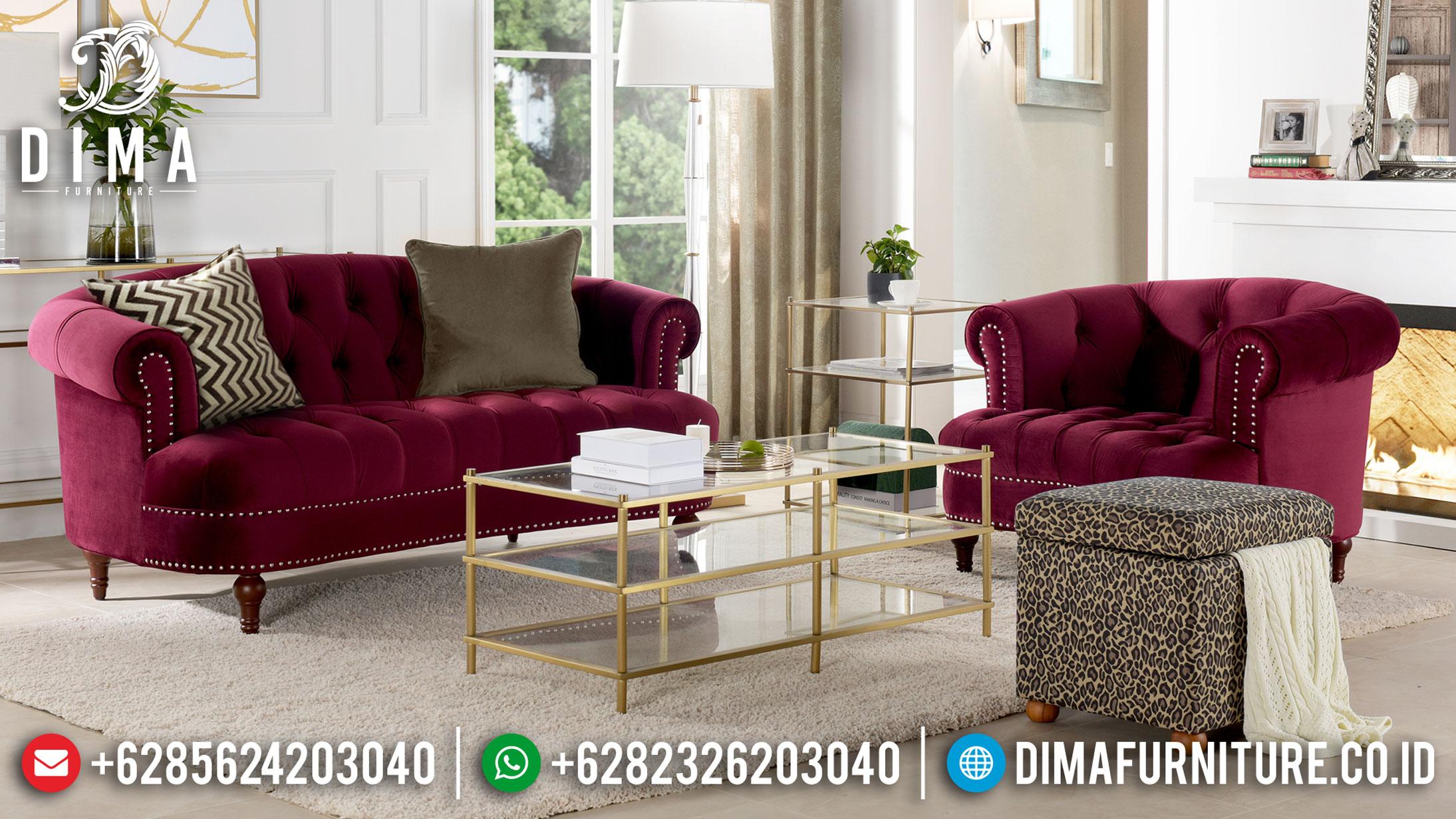 Red Maroon Sofa Tamu Minimalis Stainless Steel Design Interior Minimalist BT-0860