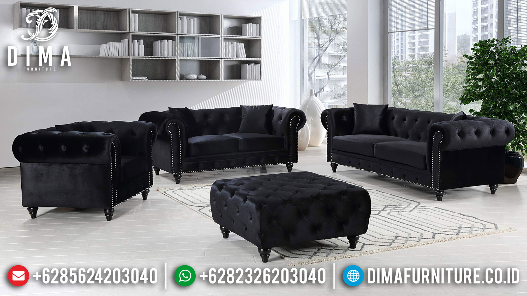 Sofa Tamu Jepara Chesterfield Model Black Edition Best Quality BT-0861