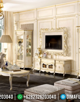 Versailles Bufet TV Mewah Luxury Carving White Duco Shiny Color BT-0877