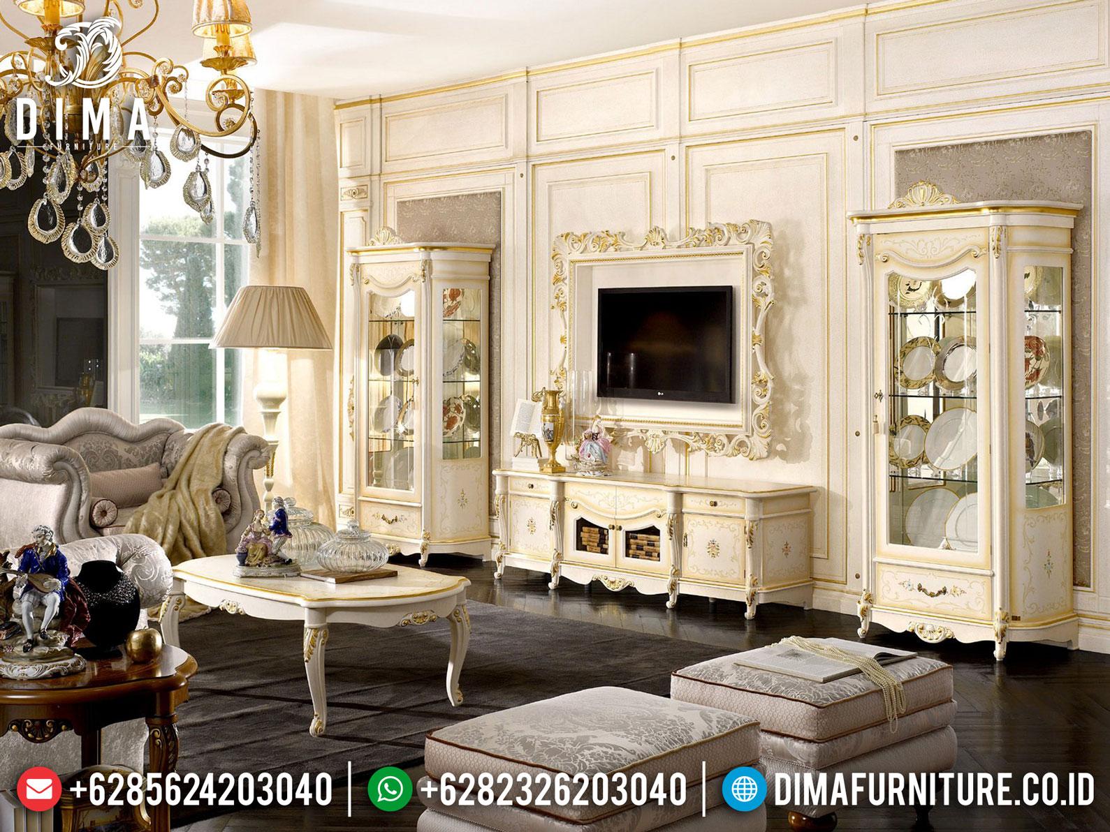 Versailles Bufet TV Mewah Luxury Carving White Duco Shiny Color BT-0877