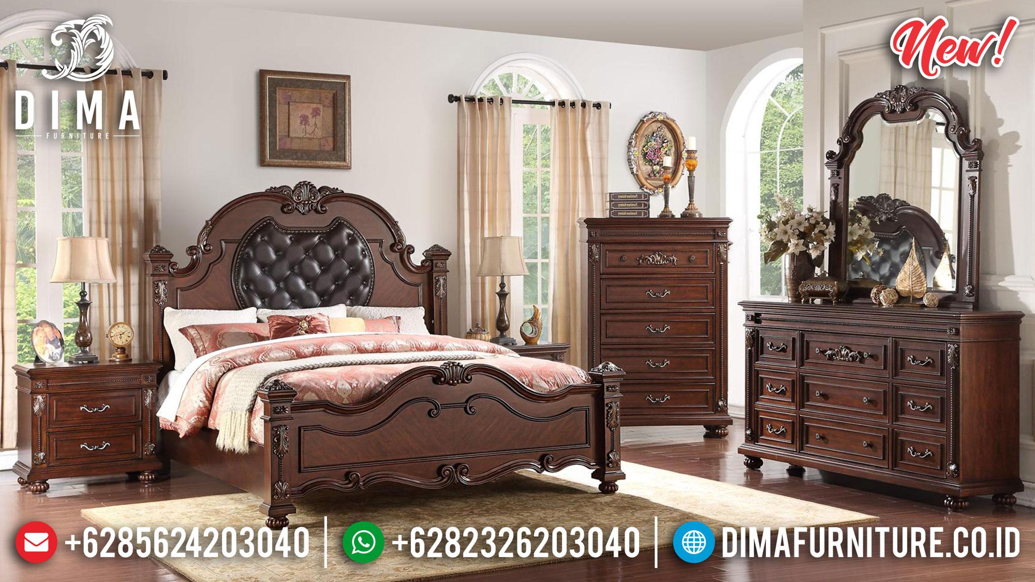 Desain Kamar Set Kayu Jati Minimalis Natural Salak Brown Luxury Carving BT-0899