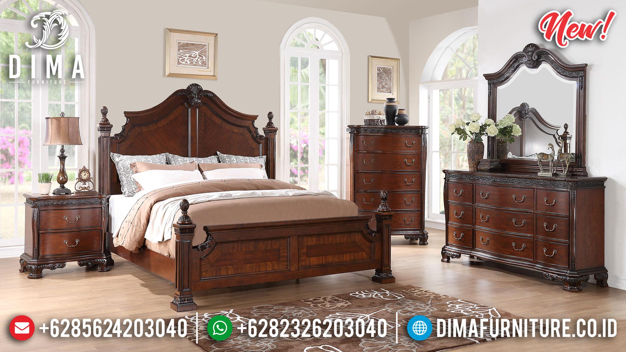 Desain Tempat Tidur Jati Classic Luxury Carving Natural Mebel Jepara Murah BT-0901