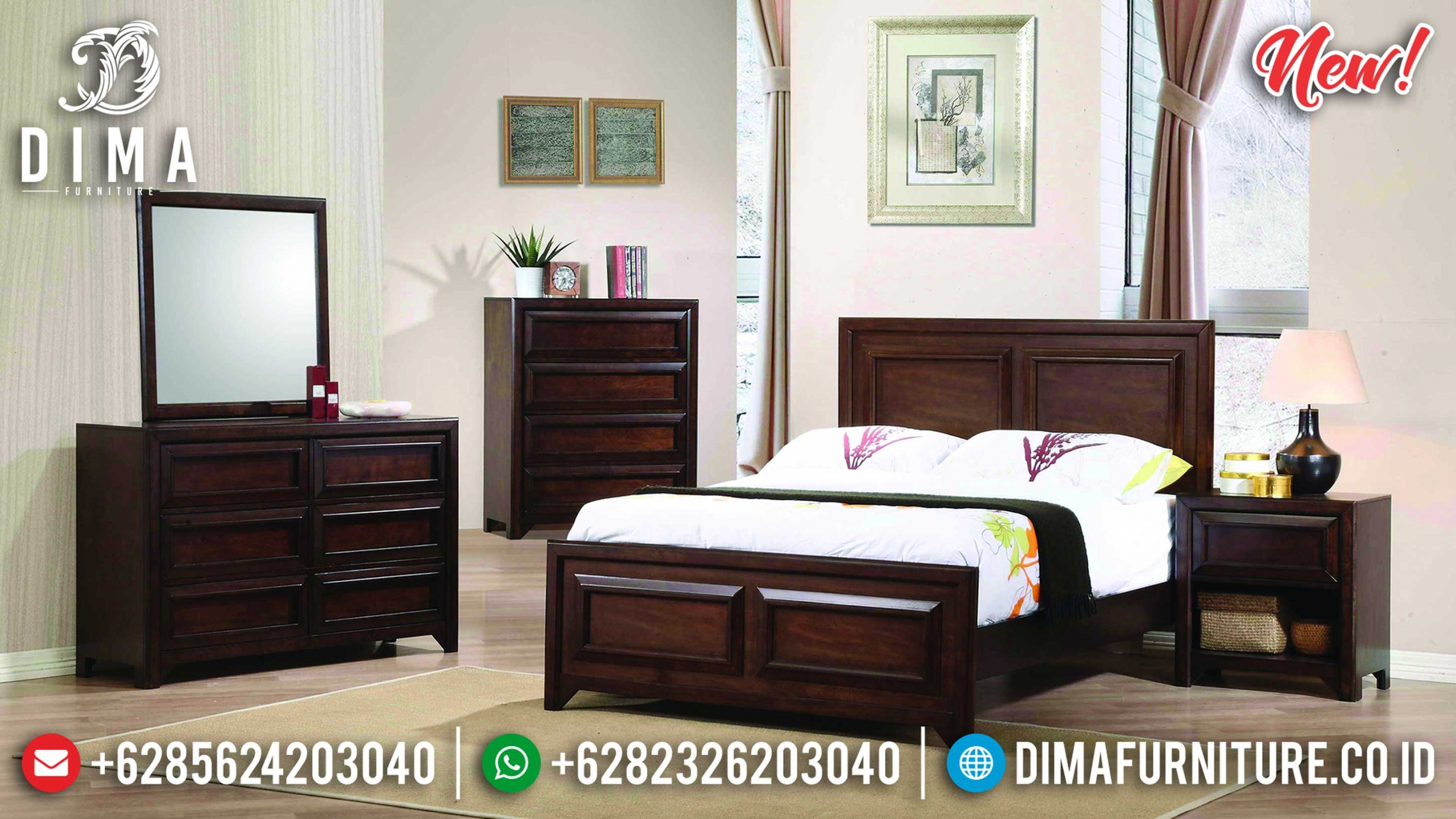Desain Tempat Tidur Minimalis Kayu Jati Natural New Years Update BT-0917