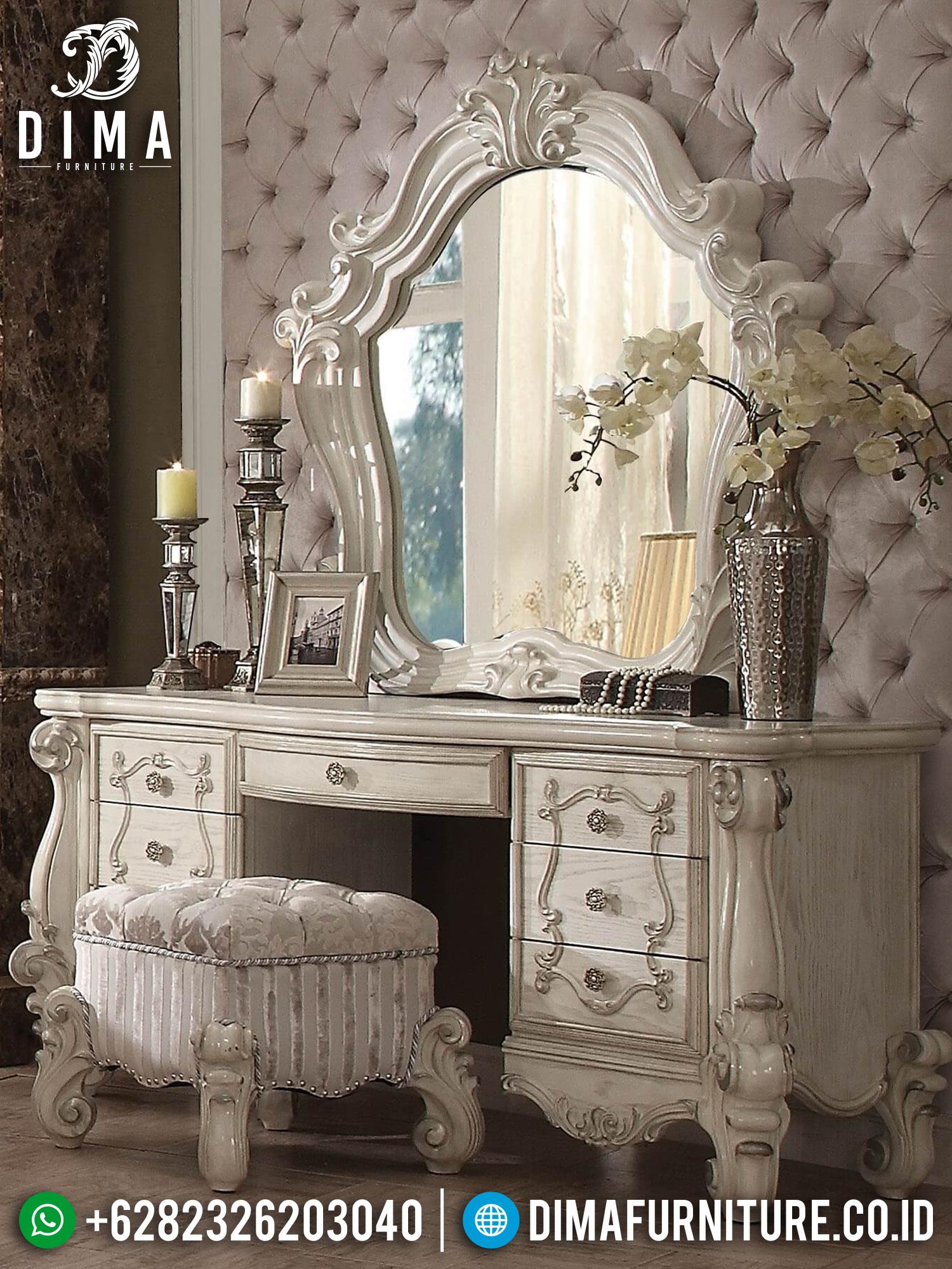 Furniture Meja Rias Jepara Luxury Classic Carving White Art Deco BT-0898