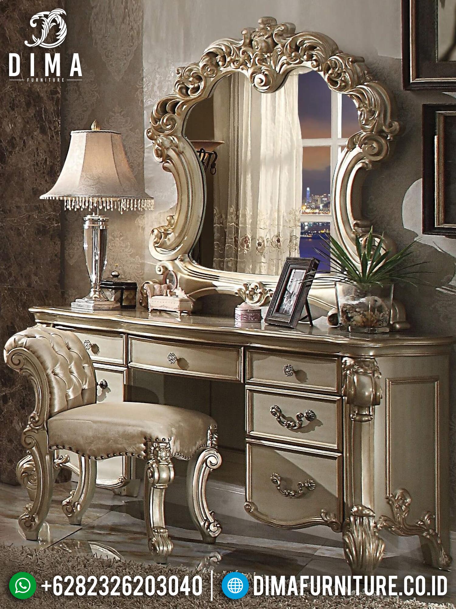 Golden Champagne Meja Rias Ukiran Classic Luxury New Furniture Jepara BT-0897