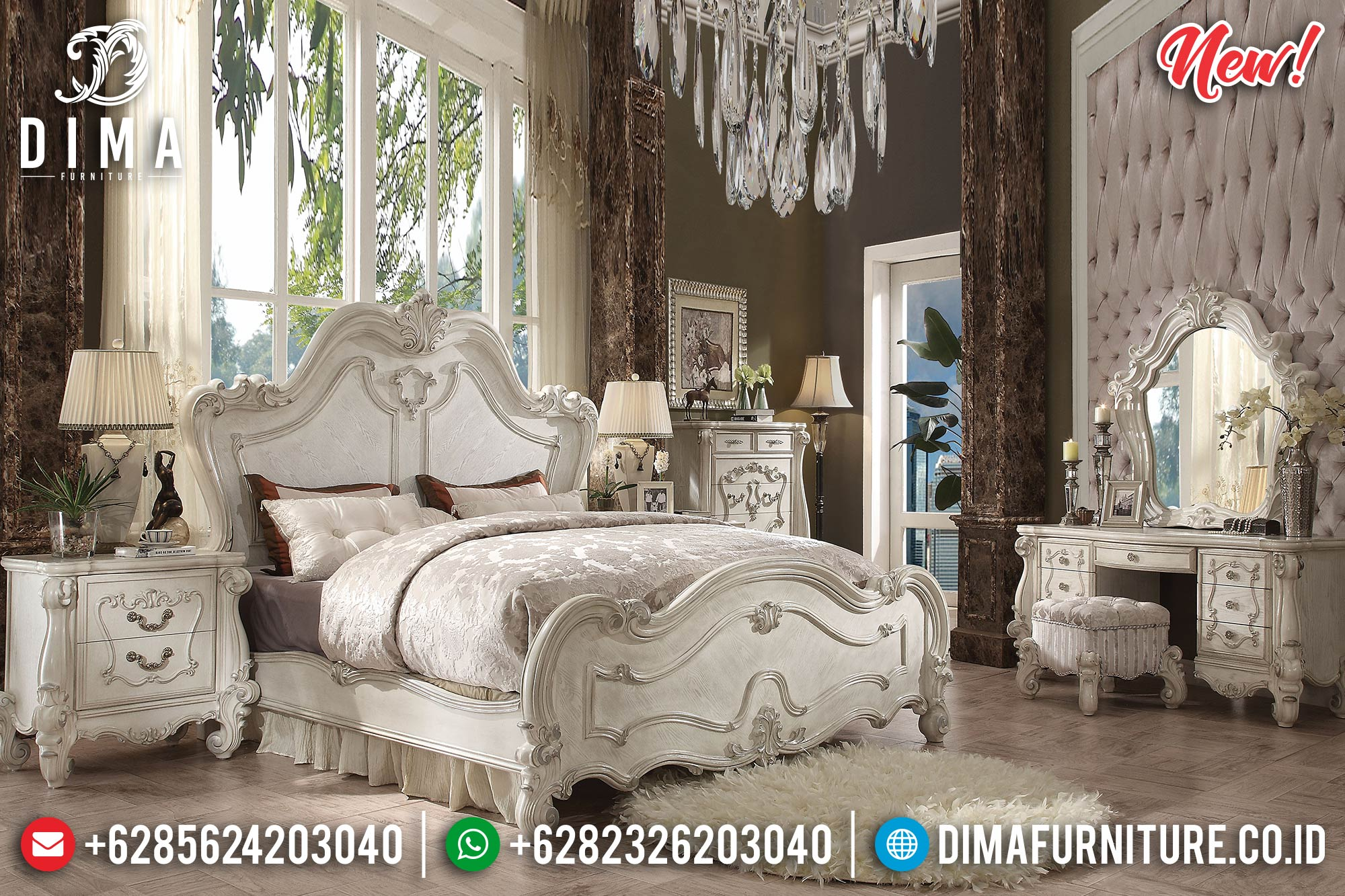 Harga Kamar Set Mewah Luxury Carving White Bone Duco Furniture Jepara BT-0884