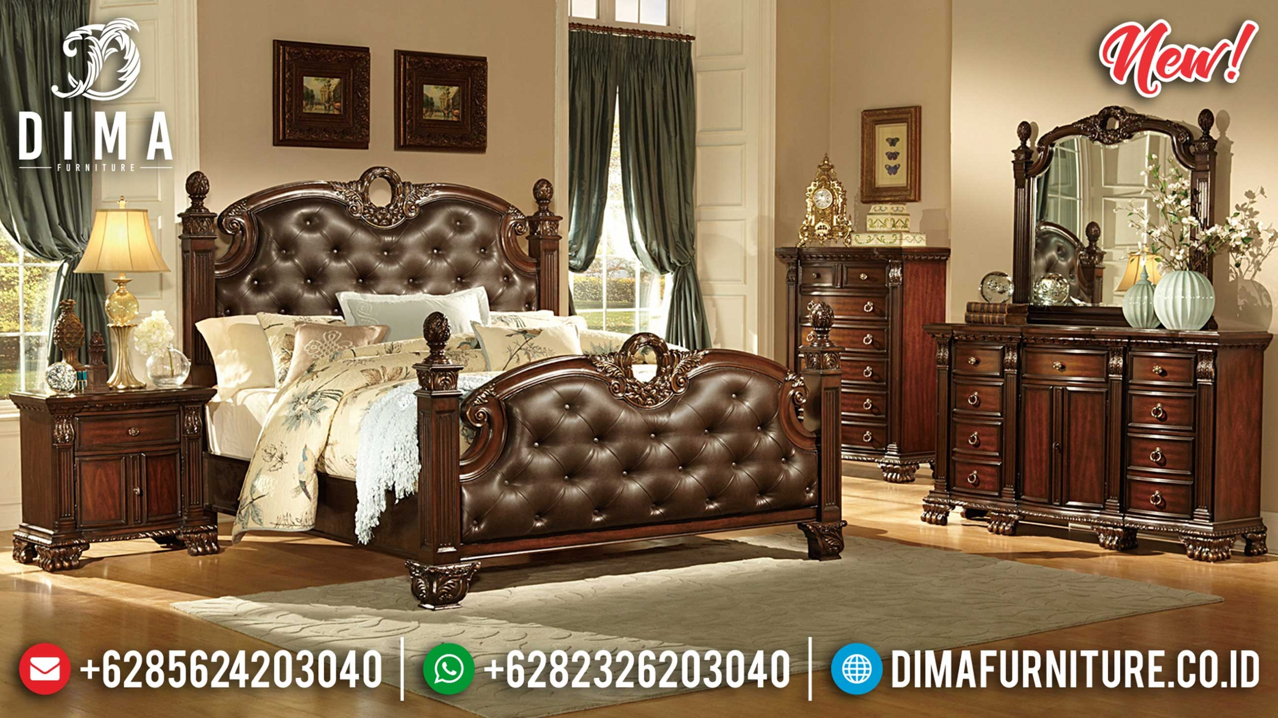 Kamar Set Klasik Natural Jati Luxury Minimalis Mebel Jepara Terbaru BT-0919