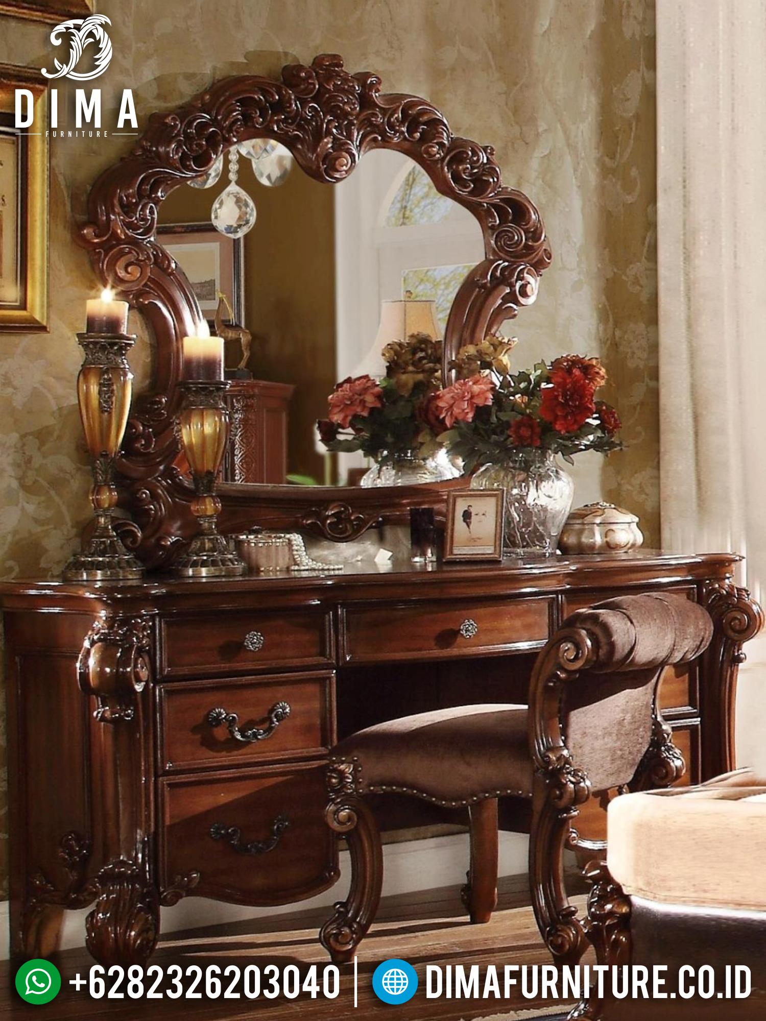 Meja Rias Mewah Jati Rose Luxury Carving Natural Classic Terbaru BT-0896