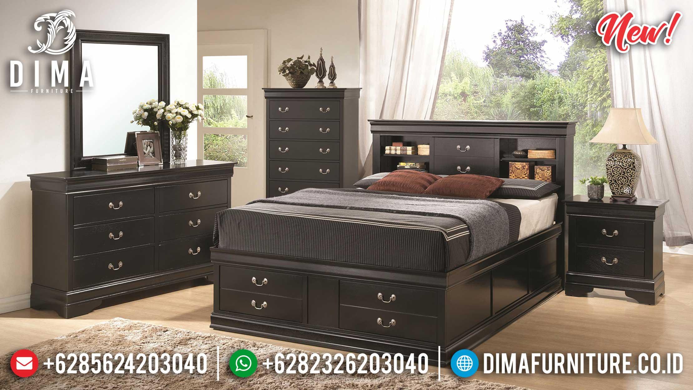 New Desain Tempat Tidur Minimalis Model Laci Black Elegant Color BT-0926