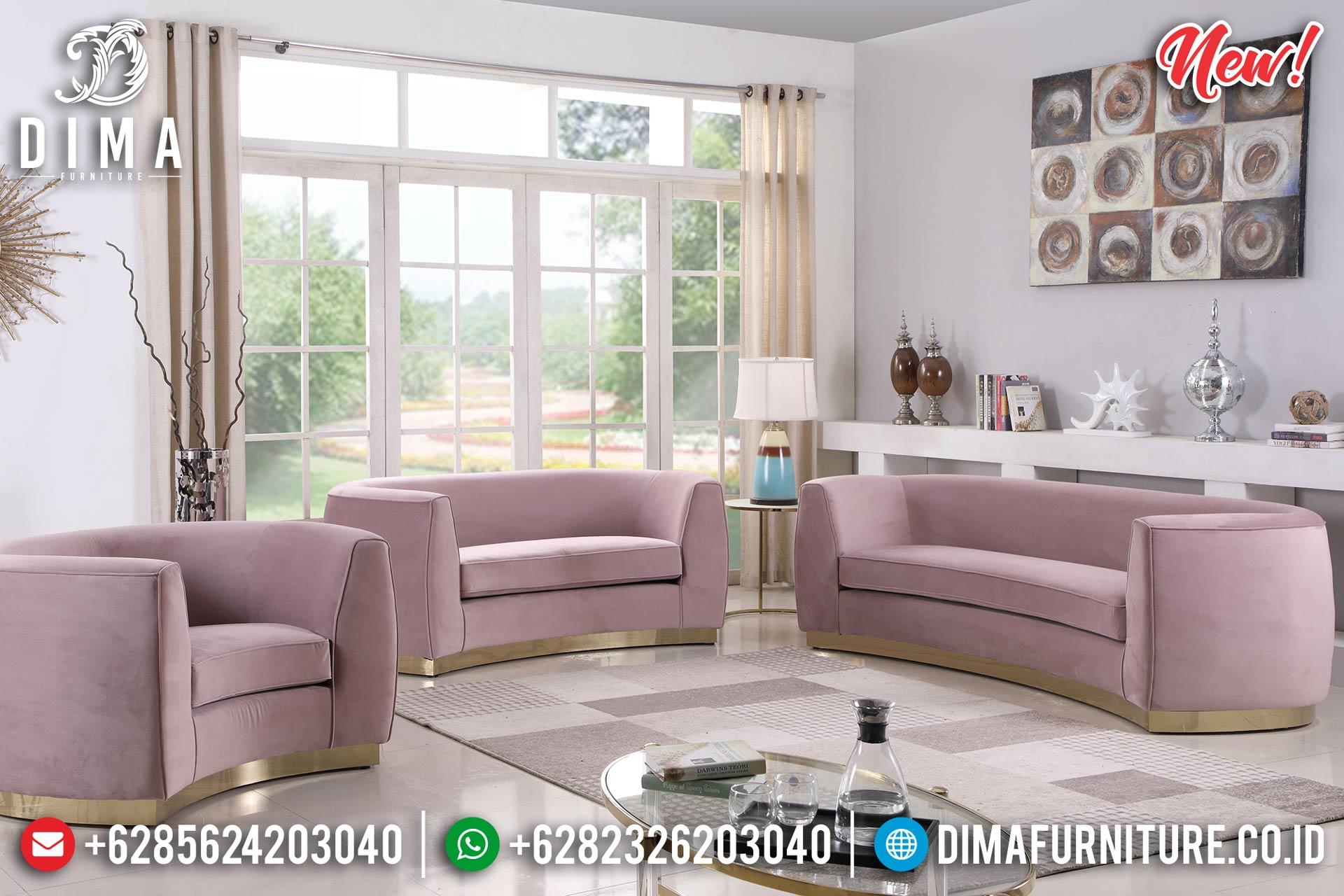 Pinky Loveseat Sofa Tamu Minimalis Glamour Design New Years Update BT-0909