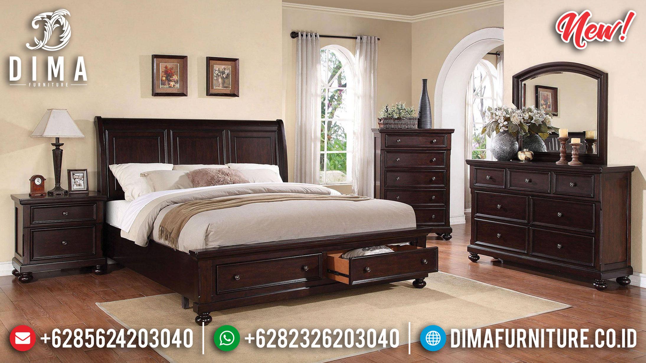 Set Tempat Tidur Minimalis Kayu Jati Grade A Black Natural Classic Color BT-0902