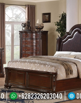 Tempat Tidur Minimalis Issabelle Kayu Jati Perhutani Natural Luxury BT-0904