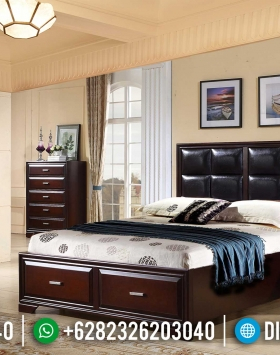 Tempat Tidur Minimalis Jati Natural Classic Dark Brown Best Seller Item BT-0915