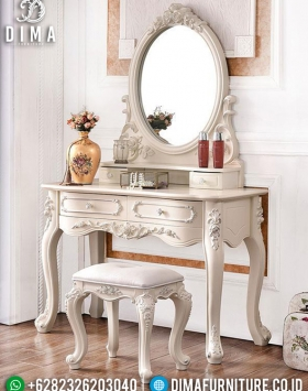 Meja rias putih minimalis mebele jepara release luxury carving high design BT-0949