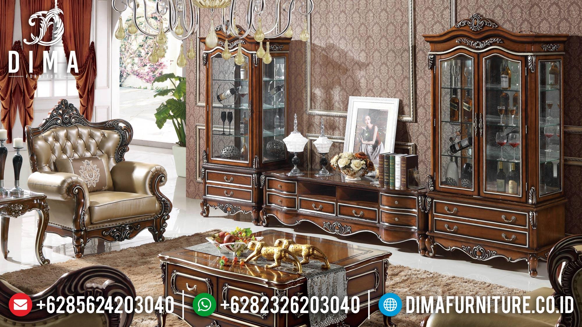 Bufet TV Mewah Jati Luxury Natural Color Combination BT-0984