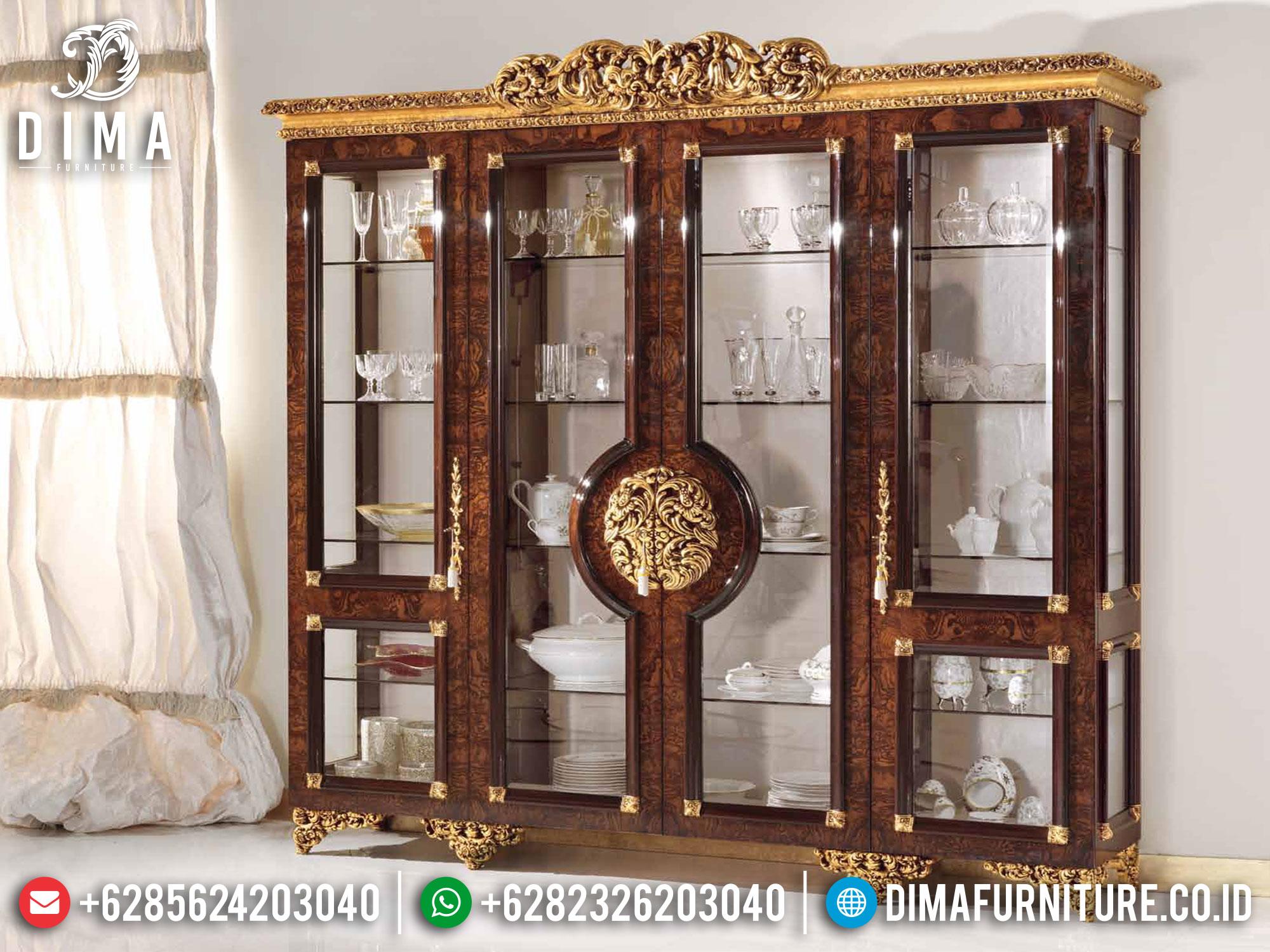 Desain Lemari Hias Mewah Ukir Jepara Natural Jati Luxury Classic BT-0979
