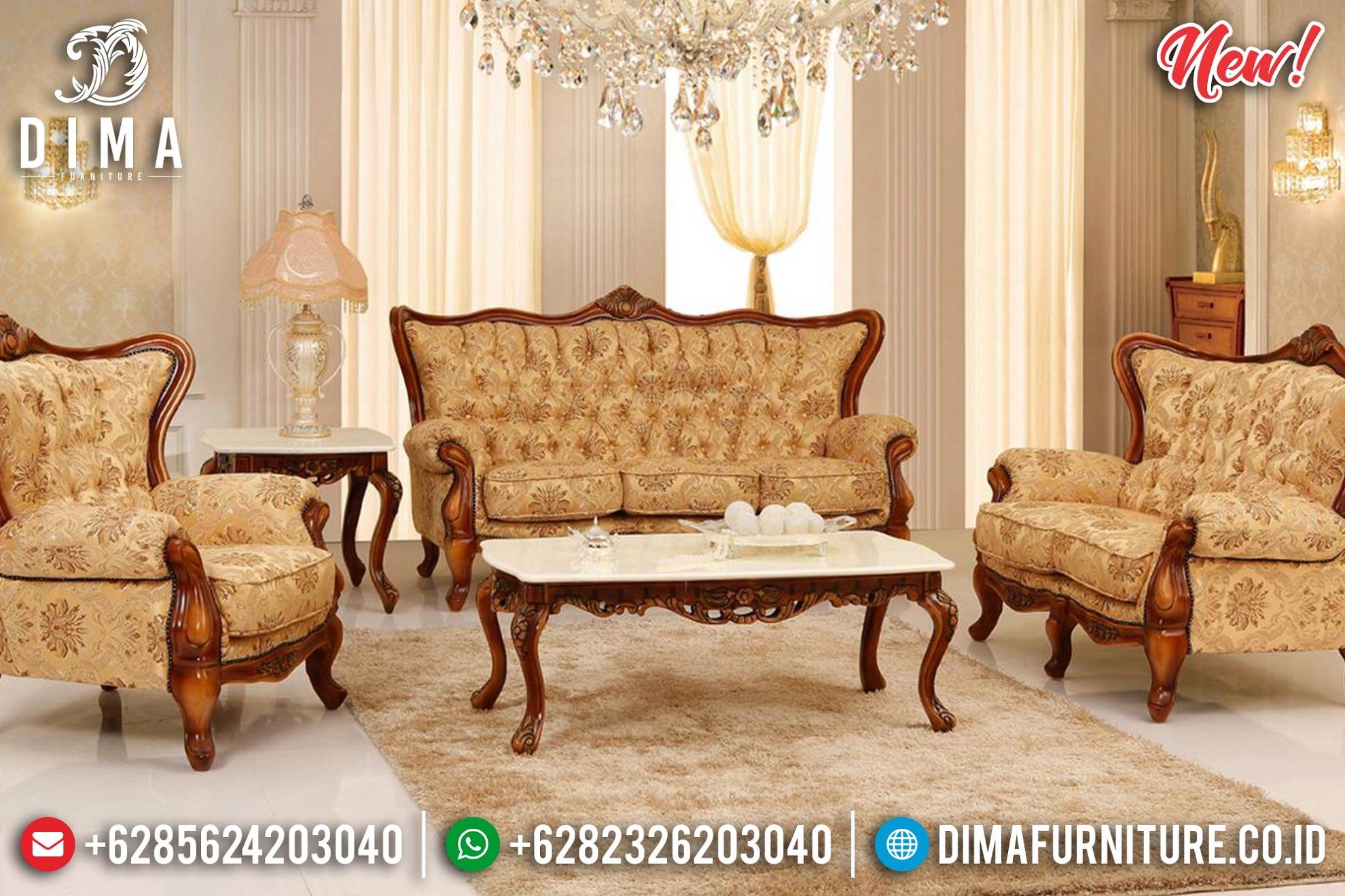 Harga Sofa Tamu Jepara Terbaru Natural Jati Luxury Carving BT-1008