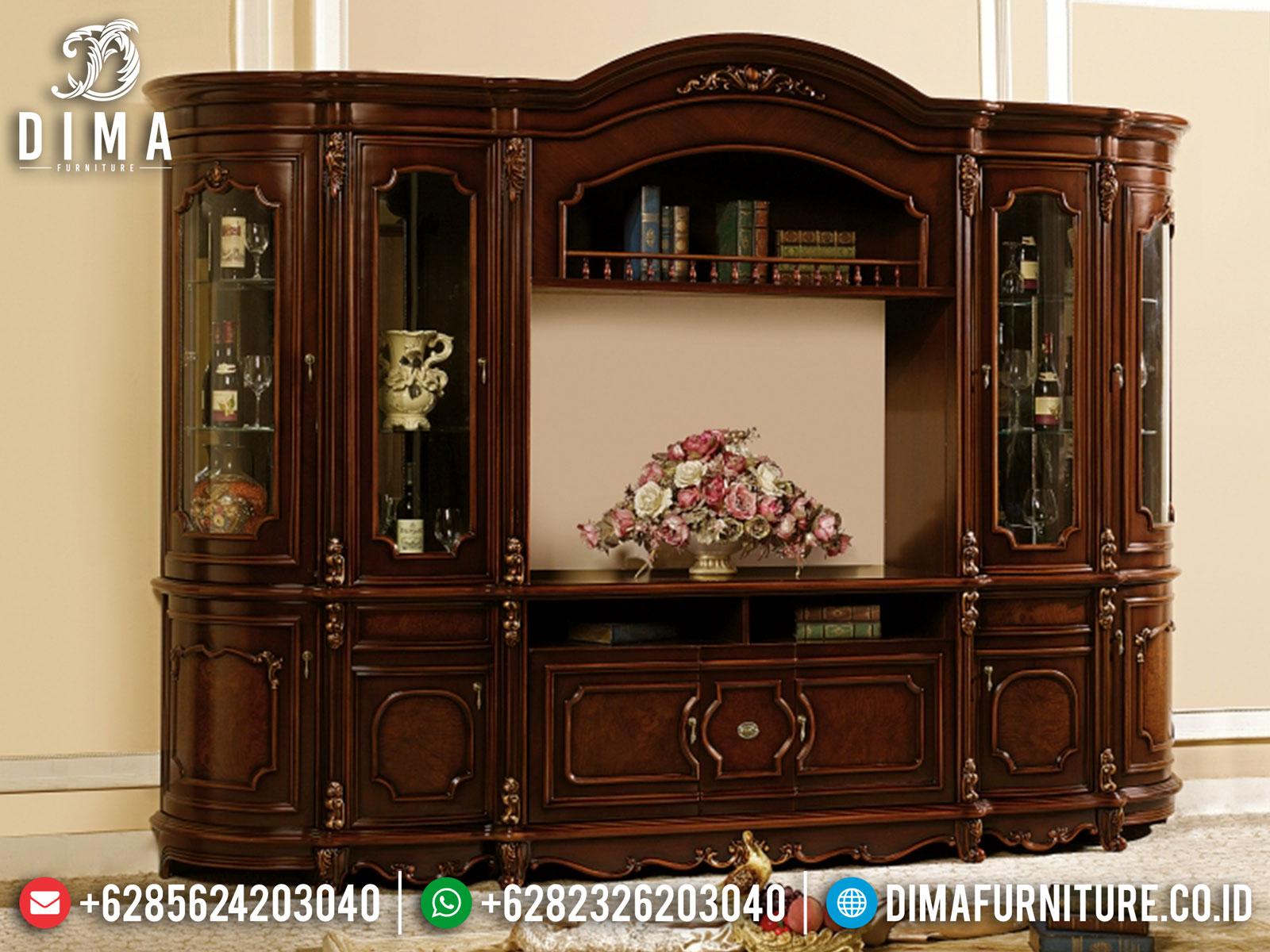 Jual Bufet TV Mewah Jati Classic Luxury Natural Salak Dark Brown BT-0960