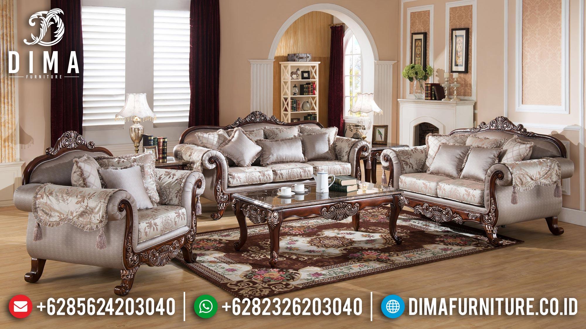 Sofa Tamu Mewah Jepara Luxury Carving Classic Natural Combine Color BT-1013