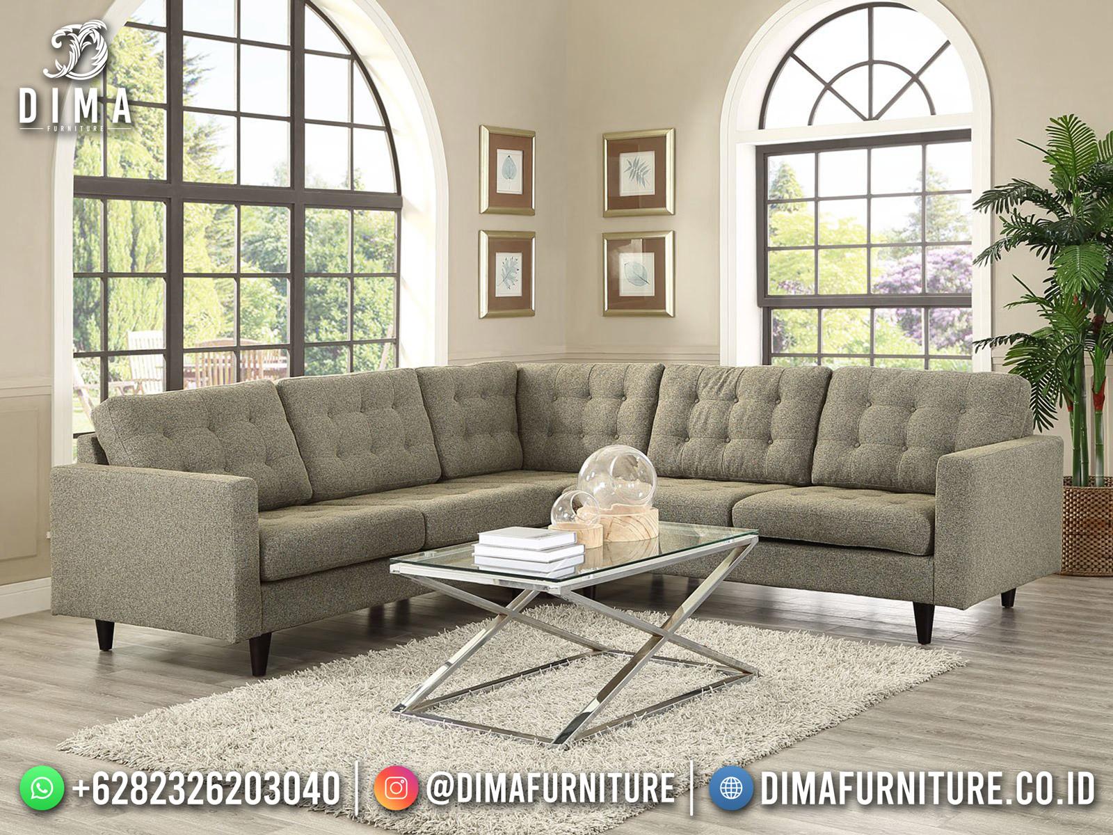 Best Product Sofa Tamu Minimalis Jepara Sudut L Dry Grass Green BT-1129