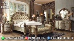 Best Seller Desain Tempat Tidur Mewah Jepara Gold Color Engraving Art BT-1143