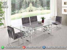 Best Seller Desain Meja Makan Mewah Jepara Kerangka Metal Crome BT-1092