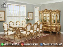 Best Seller Desain Set Meja Makan Mewah Jepara 8 Chairs Gold Color BT-1198