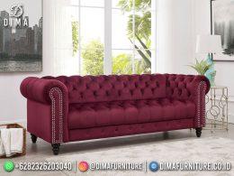 Best Seller Desain Sofa Tamu Minimalis Jepara Elegant Style Red Maroon BT-1103