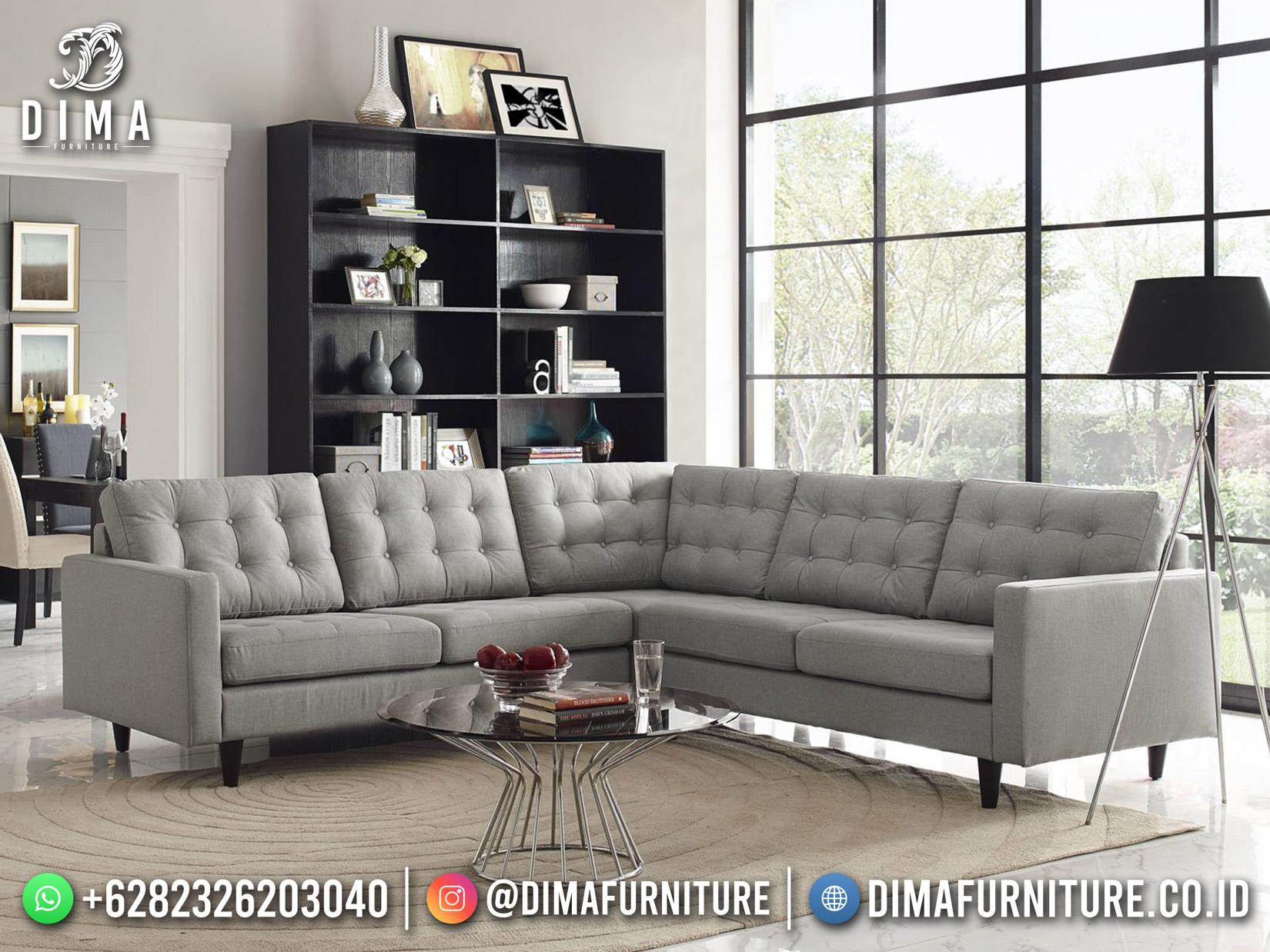 Best Seller Desain Sofa Tamu Minimalis L Jepara Living Room Lava Gray BT-1063