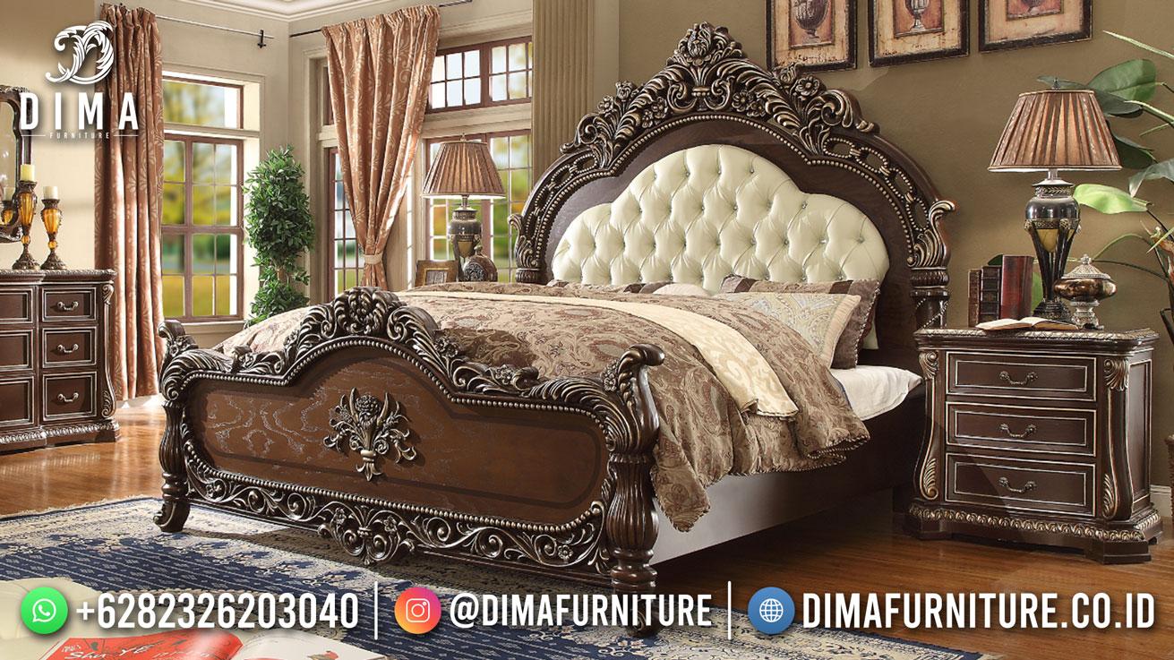 Best seller desain tempat tidur mewah jepara classic style natural color BT-1148