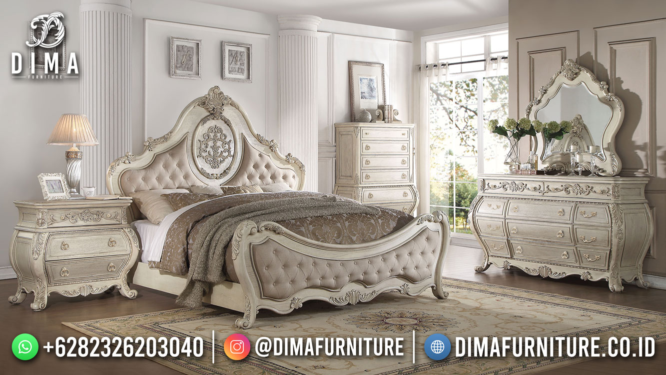 Best Seller Desain Tempat Tidur Mewah Jepara Luxury Cream White Color BT-1145