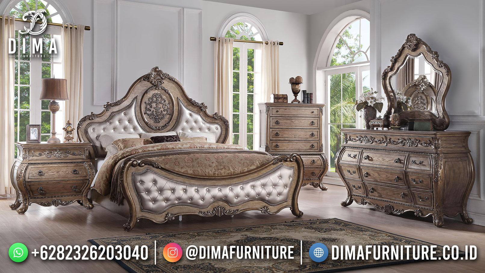 Best Seller Desain Tempat Tidur Mewah Jepara Luxury Wood Grain Color BT-1144